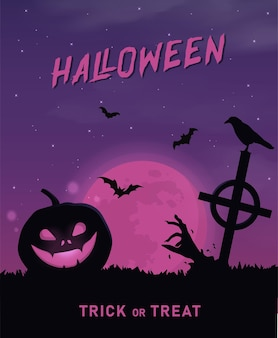 Happy halloween banner or party invitation background with violet fog clouds and pumpkins
