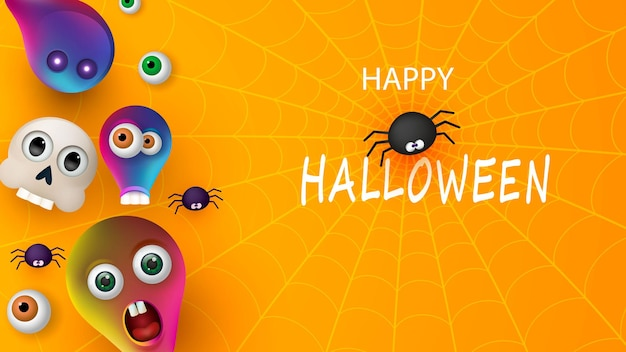 Happy halloween banner or party invitation orange background with spiders and monsters. vector illustration. place for text
