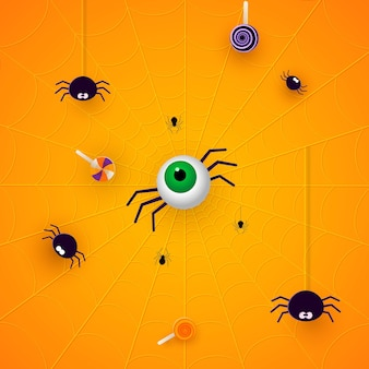 Happy halloween banner or party invitation orange background with spiders and sweets in paper cut style. vector illustration.