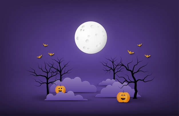 Happy halloween banner or poster background with big moon, night clouds, bare tree, pumpkins and bat in paper cut style.