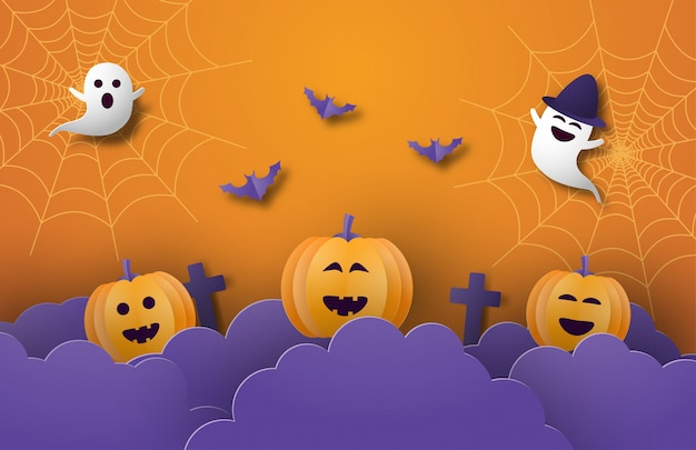 Happy halloween banner or poster background with night clouds, pumpkins,ghost and bat in paper cut style.