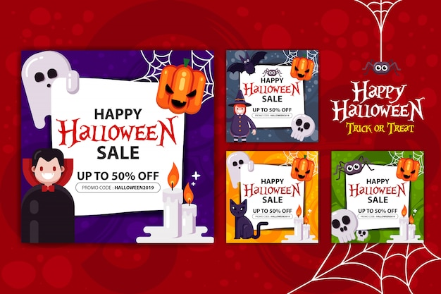 Happy halloween banner promotion set