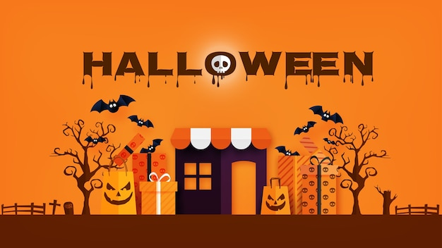 Happy halloween banner or sale background paper cut style.
