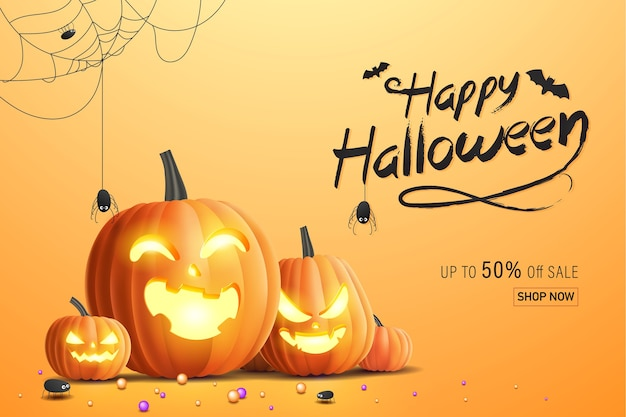 Счастливый хэллоуин баннер, рекламный баннер продажи с конфетами, пауками, паутиной и тыквами на хэллоуин. 3d иллюстрации