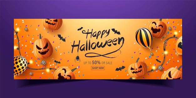 Happy halloween banner, sale promotion banner with halloween candy,  glowing garlands, balloon and halloween pumpkins  . 3d   illustration