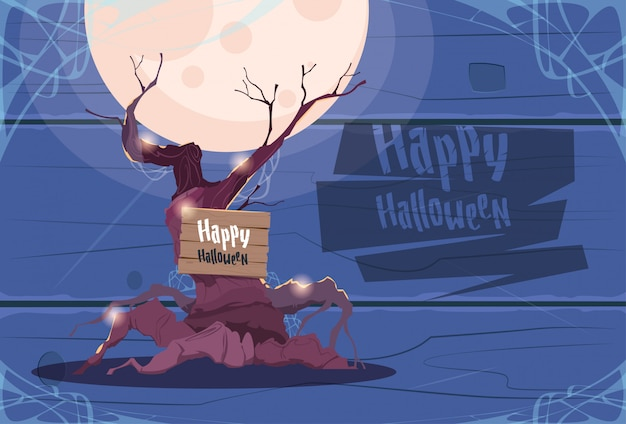 Happy halloween banner scary old tree greeting card
