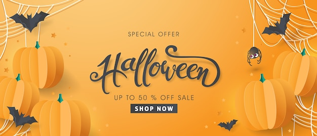Happy halloween banner special offer sale.