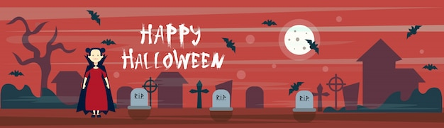 Happy halloween banner vampire on cemetery graveyard with grave stones and bats
