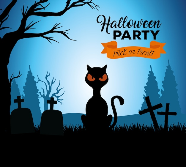 Happy halloween banner with black cat in cemetery