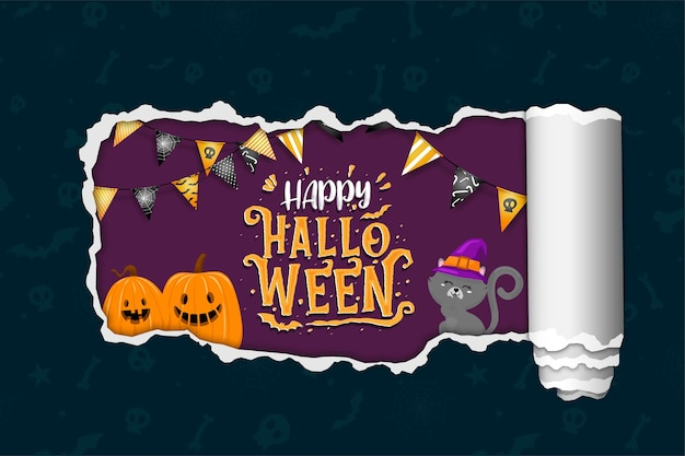 Happy halloween banner with black cat and pumpkins.