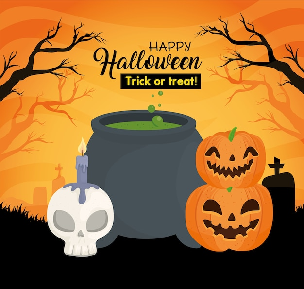 Happy halloween banner with cauldron, skull bone and pumpkins