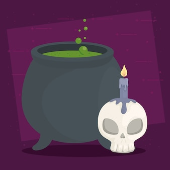 Happy halloween banner with cauldron witch, skull and candle