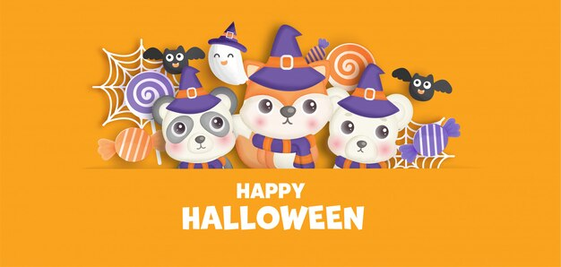 Happy halloween banner with cute  animals and ghost.