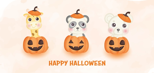 Happy halloween banner with cute  animals and pumpkins