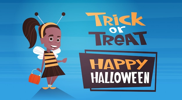 Happy halloween banner with cute cartoon bee trick or treat