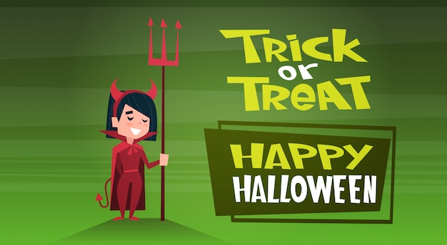Happy halloween banner with cute cartoon devil trick or treat