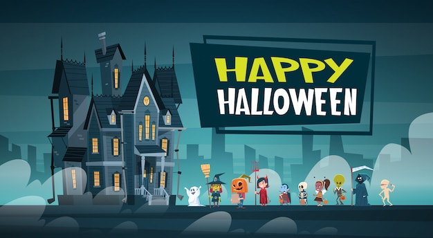 Happy halloween banner with cute cartoon monsters walking to dark castle with ghosts