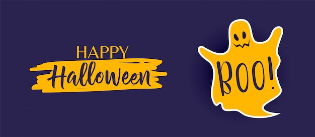 Happy halloween banner with cute ghost