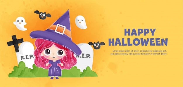 Happy halloween banner with cute witch .