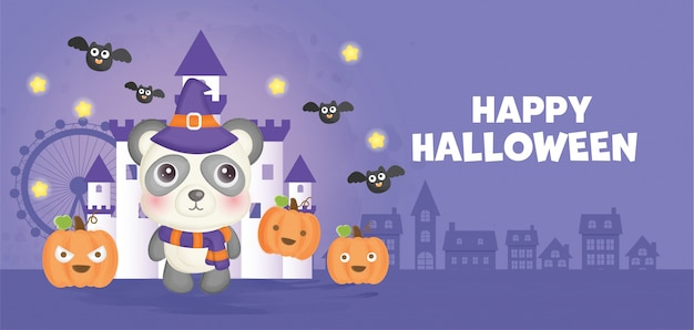 Happy halloween banner with cute witch.