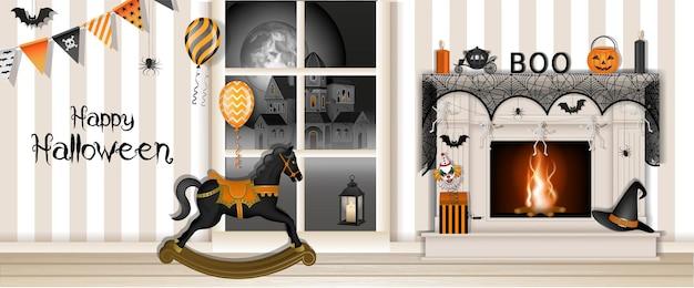 Счастливый хэллоуин баннер с украшенным камином и лошадкой-качалкой