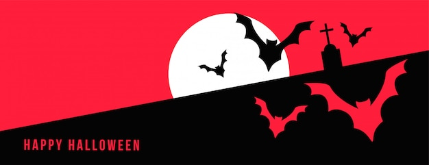 Happy halloween banner with full moon and flying bats