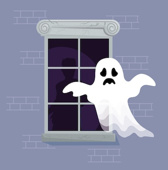 Happy halloween banner with ghost and window