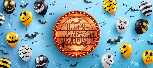 Happy halloween banner with halloween text on vintage wooden board and halloween ghost balloons