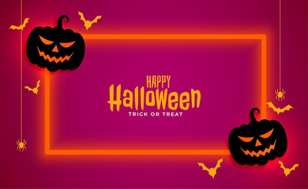 Happy halloween banner with neon frame
