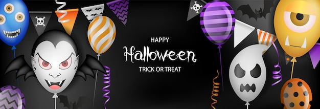 Happy halloween banner with party balloons pennants and streamers