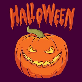Happy halloween banner with a pumpkin a party poster with a handwritten inscription