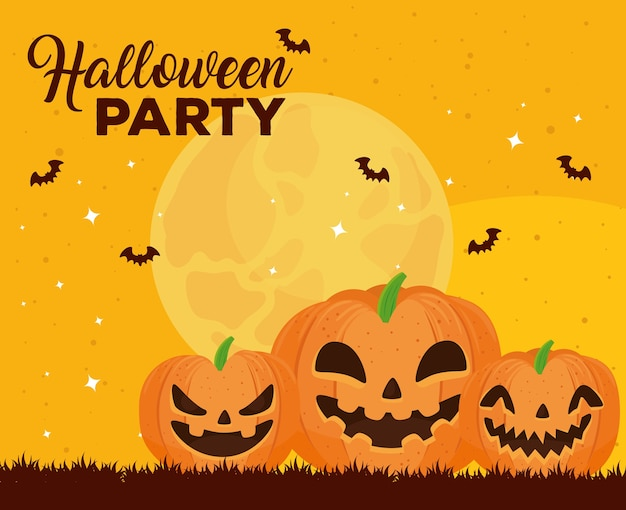 Happy halloween banner with pumpkins and bats flying