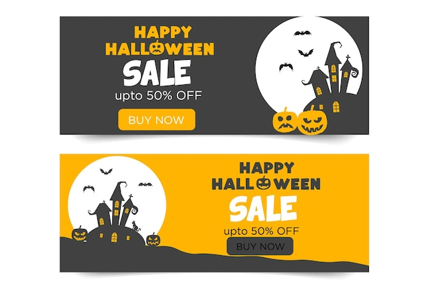 Happy halloween banner with pumpkins and bats