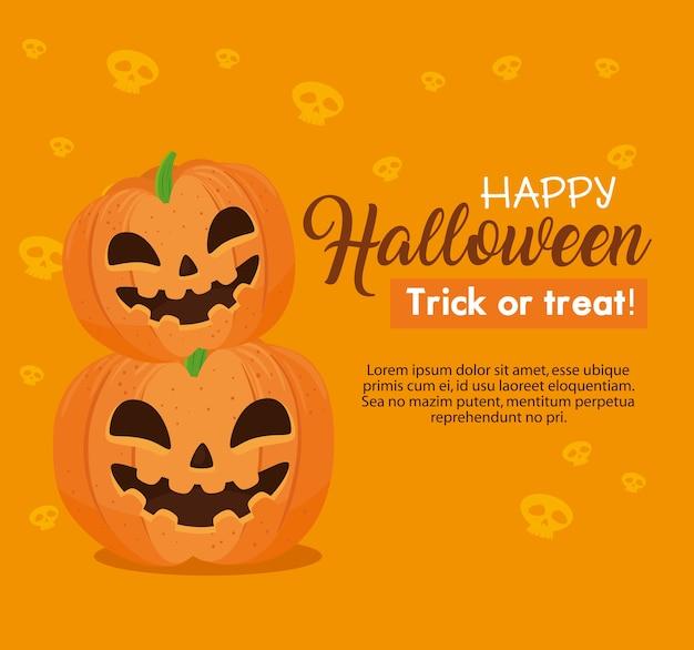 Happy halloween banner with pumpkins on orange background