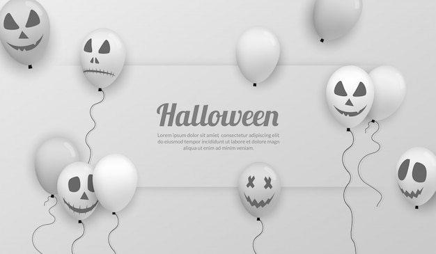 Happy halloween banner with realistic balloon for party celebration