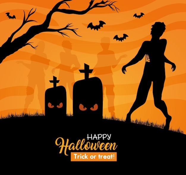 Happy halloween banner with silhouette of zombie in cemetery