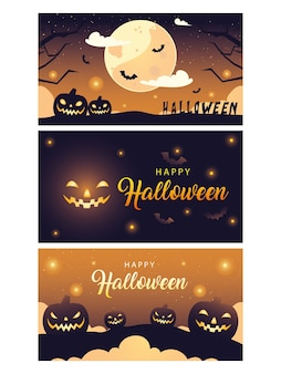 Happy halloween banners collection design, happy holiday and scary