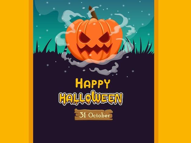 Happy halloween banners pumpkin characters. concept cartoon halloween elements. vector clipart illustration on color background
