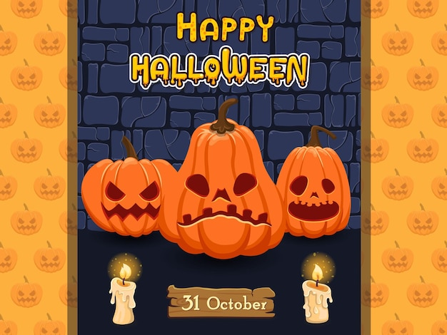 Happy halloween banners pumpkin characters. concept cartoon halloween elements. vector clipart illustration on old wall background