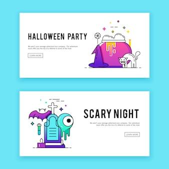 Happy halloween. banners set.