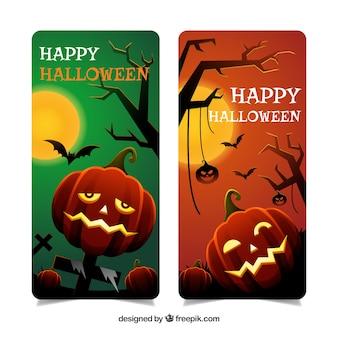 Bandiere felici di halloween con zucche