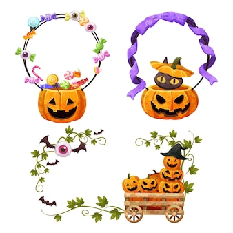 Happy halloween basket frame