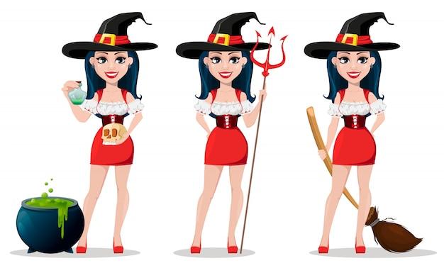 Happy halloween. beautiful lady witch