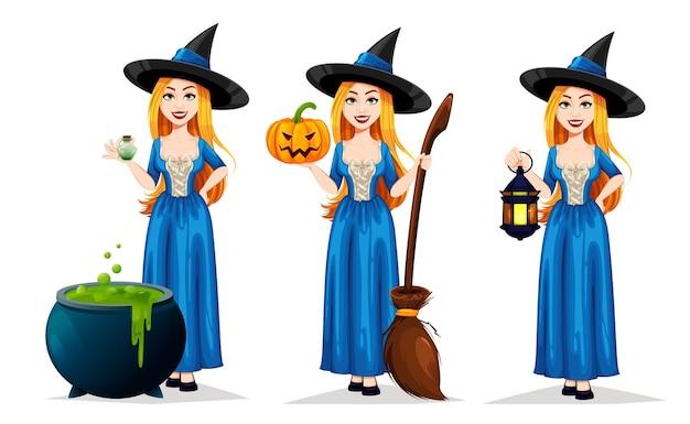 세 가지 포즈의 해피 할로윈 아름다운 마녀 만화 캐릭터 세트