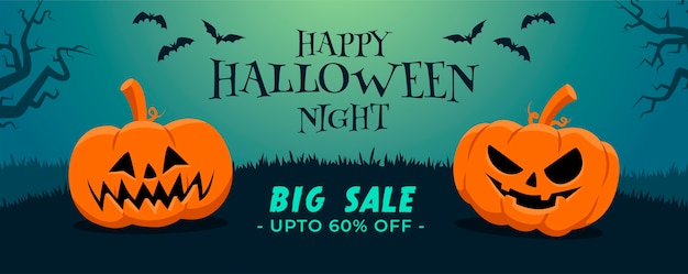 Happy halloween big sale banner in flat design with two pumpkins and bats