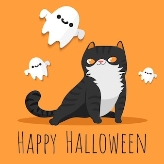 Happy halloween black cat and flying ghosts around.