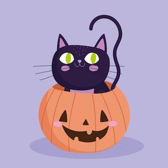 해피 할로윈, 호박 속임수 안에 검은 고양이 또는 파티 축하 벡터 일러스트 레이 션 치료