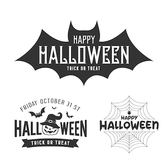 Happy halloween black and white design collections on white background