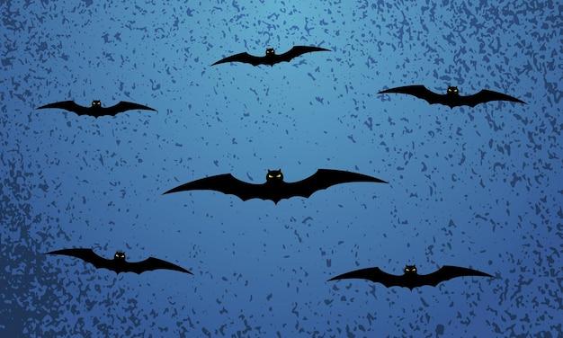 Happy halloween blue festive background with flying bats. vector illustration.