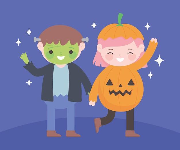 Счастливый хэллоуин, мальчик и девочка зомби и персонаж костюма тыквы, праздник трюк или угощение